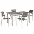 Modway Shore 5 Piece Outdoor Patio Aluminum Outdoor Dining Set in Silver Gray MY-EEI-3197-SLV-GRY-SET