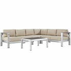 Modway Shore 5 Piece Outdoor Patio Aluminum Sectional Sofa Set in Silver Beige MY-EEI-2557-SLV-BEI