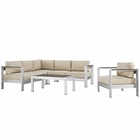 Modway Shore 5 Piece Outdoor Patio Aluminum Sectional Sofa Set in Silver Beige MY-EEI-2560-SLV-BEI