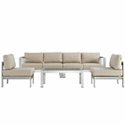 Modway Shore 5 Piece Outdoor Patio Aluminum Sectional Sofa Set in Silver Beige MY-EEI-2564-SLV-BEI