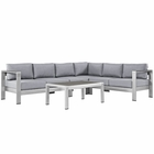 Modway Shore 5 Piece Outdoor Patio Aluminum Sectional Sofa Set in Silver Gray MY-EEI-2557-SLV-GRY