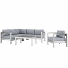 Modway Shore 5 Piece Outdoor Patio Aluminum Sectional Sofa Set in Silver Gray MY-EEI-2560-SLV-GRY