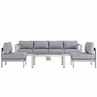 Modway Shore 5 Piece Outdoor Patio Aluminum Sectional Sofa Set in Silver Gray MY-EEI-2564-SLV-GRY