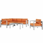 Modway Shore 5 Piece Outdoor Patio Aluminum Sectional Sofa Set in Silver Orange MY-EEI-2560-SLV-ORA