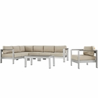 Modway Shore 6 Piece Outdoor Patio Aluminum Sectional Sofa Set in Silver Beige MY-EEI-2558-SLV-BEI