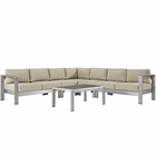 Modway Shore 6 Piece Outdoor Patio Aluminum Sectional Sofa Set in Silver Beige MY-EEI-2561-SLV-BEI