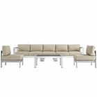 Modway Shore 6 Piece Outdoor Patio Aluminum Sectional Sofa Set in Silver Beige MY-EEI-2565-SLV-BEI