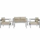 Modway Shore 6 Piece Outdoor Patio Aluminum Sectional Sofa Set in Silver Beige MY-EEI-2568-SLV-BEI
