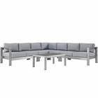 Modway Shore 6 Piece Outdoor Patio Aluminum Sectional Sofa Set in Silver Gray MY-EEI-2561-SLV-GRY