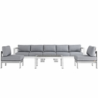 Modway Shore 6 Piece Outdoor Patio Aluminum Sectional Sofa Set in Silver Gray MY-EEI-2565-SLV-GRY