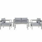 Modway Shore 6 Piece Outdoor Patio Aluminum Sectional Sofa Set in Silver Gray MY-EEI-2568-SLV-GRY