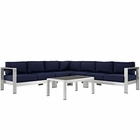 Modway Shore 6 Piece Outdoor Patio Aluminum Sectional Sofa Set in Silver Navy MY-EEI-2561-SLV-NAV