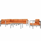 Modway Shore 6 Piece Outdoor Patio Aluminum Sectional Sofa Set in Silver Orange MY-EEI-2558-SLV-ORA