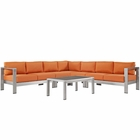 Modway Shore 6 Piece Outdoor Patio Aluminum Sectional Sofa Set in Silver Orange MY-EEI-2561-SLV-ORA