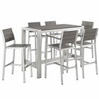 Modway Shore 7 Piece Outdoor Patio Aluminum Dining Set in Silver Gray MY-EEI-2587-SLV-GRY-SET
