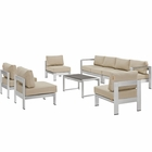 Modway Shore 7 Piece Outdoor Patio Aluminum Sectional Sofa Set in Silver Beige MY-EEI-2566-SLV-BEI