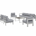 Modway Shore 7 Piece Outdoor Patio Aluminum Sectional Sofa Set in Silver Gray MY-EEI-2566-SLV-GRY