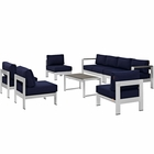 Modway Shore 7 Piece Outdoor Patio Aluminum Sectional Sofa Set in Silver Navy MY-EEI-2566-SLV-NAV