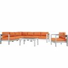 Modway Shore 7 Piece Outdoor Patio Aluminum Sectional Sofa Set in Silver Orange MY-EEI-2562-SLV-ORA