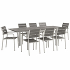 Modway Shore 9 Piece Outdoor Patio Aluminum Outdoor Dining Set in Silver Gray MY-EEI-3201-SLV-GRY-SET