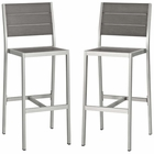 Modway Shore Armless Bar Stool Outdoor Patio Aluminum Set of 2 in Silver Gray MY-EEI-3156-SLV-GRY-SET