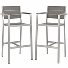 Modway Shore Bar Stool Outdoor Patio Aluminum Set of 2 in Silver Gray MY-EEI-3155-SLV-GRY-SET