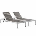 Modway Shore Chaise Outdoor Patio Aluminum  Set of 2 in Silver Gray MY-EEI-2467-SLV-GRY-SET