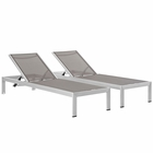 Modway Shore Chaise Outdoor Patio Aluminum  Set of 2 in Silver Gray MY-EEI-2472-SLV-GRY-SET