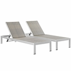 Modway Shore Chaise Outdoor Patio Aluminum  Set of 2 in Silver Gray MY-EEI-2477-SLV-GRY-SET