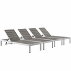 Modway Shore Chaise Outdoor Patio Aluminum Set of 4 in Silver Gray MY-EEI-2468-SLV-GRY-SET
