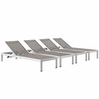 Modway Shore Chaise Outdoor Patio Aluminum  Set of 4 in Silver Gray MY-EEI-2473-SLV-GRY-SET