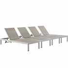 Modway Shore Chaise Outdoor Patio Aluminum Set of 4 in Silver Gray MY-EEI-2478-SLV-GRY-SET