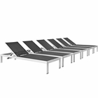 Modway Shore Chaise Outdoor Patio Aluminum  Set of 6 in Silver Black MY-EEI-2474-SLV-BLK-SET