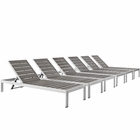 Modway Shore Chaise Outdoor Patio Aluminum Set of 6 in Silver Gray MY-EEI-2469-SLV-GRY-SET