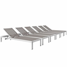 Modway Shore Chaise Outdoor Patio Aluminum  Set of 6 in Silver Gray MY-EEI-2474-SLV-GRY-SET