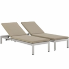 Modway Shore Chaise with Cushions Outdoor Patio Aluminum Set of 2 in Silver Beige MY-EEI-2737-SLV-BEI-SET