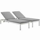 Modway Shore Chaise with Cushions Outdoor Patio Aluminum Set of 2 in Silver Gray MY-EEI-2737-SLV-GRY-SET