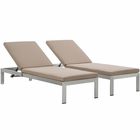 Modway Shore Chaise with Cushions Outdoor Patio Aluminum Set of 2 in Silver Mocha MY-EEI-2737-SLV-MOC-SET