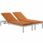 Modway Shore Chaise with Cushions Outdoor Patio Aluminum Set of 2 in Silver Orange MY-EEI-2737-SLV-ORA-SET