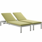 Modway Shore Chaise with Cushions Outdoor Patio Aluminum Set of 2 in Silver Peridot MY-EEI-2737-SLV-PER-SET