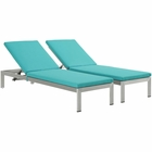 Modway Shore Chaise with Cushions Outdoor Patio Aluminum Set of 2 in Silver Turquoise MY-EEI-2737-SLV-TRQ-SET