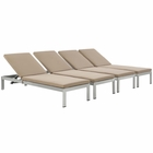 Modway Shore Chaise with Cushions Outdoor Patio Aluminum Set of 4 in Silver Mocha MY-EEI-2738-SLV-MOC-SET