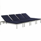 Modway Shore Chaise with Cushions Outdoor Patio Aluminum Set of 4 in Silver Navy MY-EEI-2738-SLV-NAV-SET