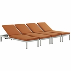 Modway Shore Chaise with Cushions Outdoor Patio Aluminum Set of 4 in Silver Orange MY-EEI-2738-SLV-ORA-SET