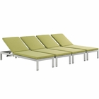 Modway Shore Chaise with Cushions Outdoor Patio Aluminum Set of 4 in Silver Peridot MY-EEI-2738-SLV-PER-SET