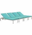 Modway Shore Chaise with Cushions Outdoor Patio Aluminum Set of 4 in Silver Turquoise MY-EEI-2738-SLV-TRQ-SET