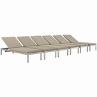 Modway Shore Chaise with Cushions Outdoor Patio Aluminum Set of 6 in Silver Beige MY-EEI-2739-SLV-BEI-SET