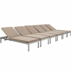 Modway Shore Chaise with Cushions Outdoor Patio Aluminum Set of 6 in Silver Mocha MY-EEI-2739-SLV-MOC-SET