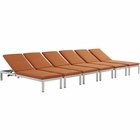 Modway Shore Chaise with Cushions Outdoor Patio Aluminum Set of 6 in Silver Orange MY-EEI-2739-SLV-ORA-SET