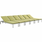 Modway Shore Chaise with Cushions Outdoor Patio Aluminum Set of 6 in Silver Peridot MY-EEI-2739-SLV-PER-SET